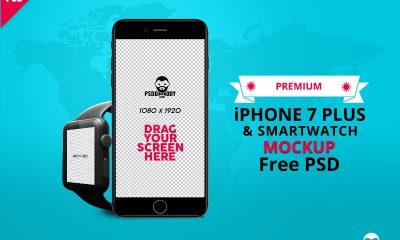 07a364fd56efacf594ea019f019a349c 400x240 - iPhone 7 Plus & Smartwatch Mockup Free PSD