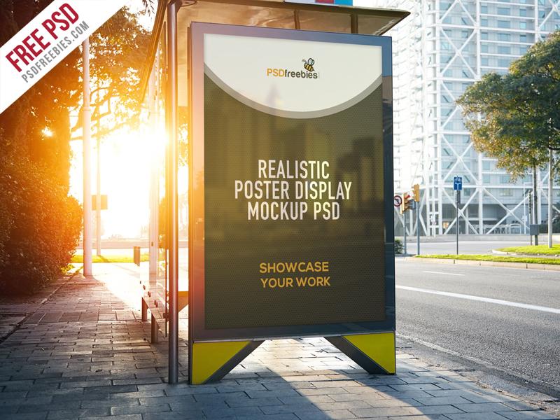 08834f0c097d343774e744b987c9309d - Freebie : Realistic Poster Display Mockup Free PSD