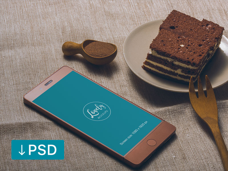 0c275b32493c01f87fb2eca0c9d4b8d3 - Smartphone And Cake On a Table (freebie)