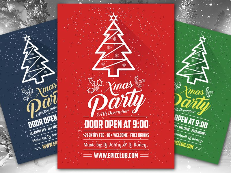 0c333b2ea54c37d10b63e75829617a63 - Free A4 Christmas Party Flyer Design Template & Mock-up PSD