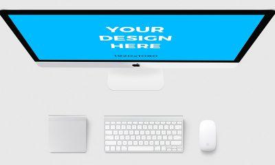 11b8428fbf4d39691dce7ab21107f765 400x240 - iMac with accessories - Free Mockup