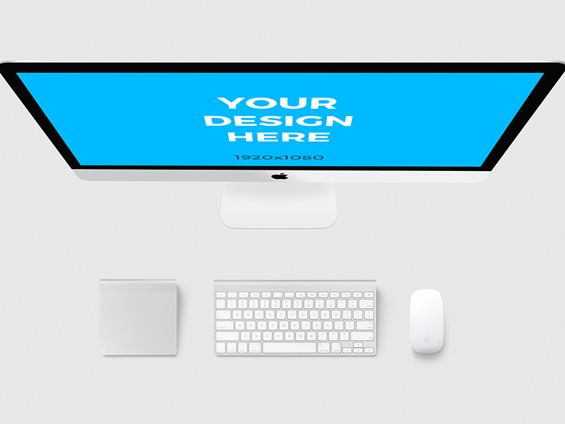 11b8428fbf4d39691dce7ab21107f765 - iMac with accessories - Free Mockup