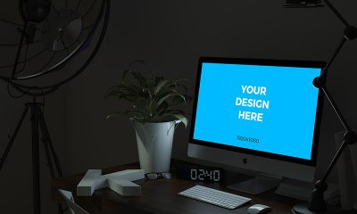 125f9b82fa8dde6a10de406bbfae6f77 400x240 - Free mockup - iMac on the table in the office at night