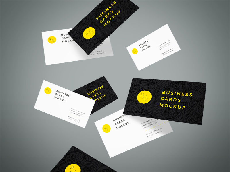 146d5346ae43826ce189ce9b3419bdac - Freebie - Flying Business Cards Mockup