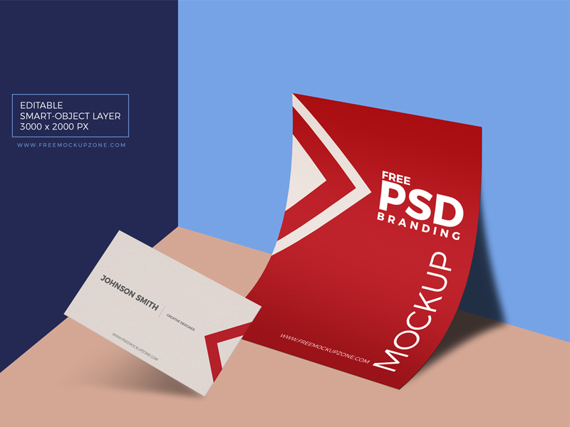 15798725adca8351765cd8d024e16f3d - Free PSD Business Card & Paper Branding Mockup