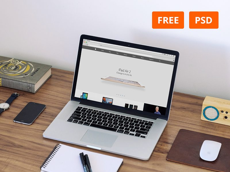 16dae2cc502176a89e65fb7f75374aed - Free Macbook Workspace Mockup