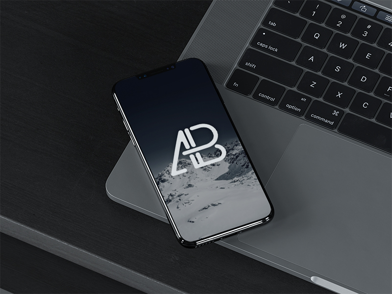 1f0dea6b57f9d2453fb40c8310399c69 - iPhone X On MacBook Pro Mockup