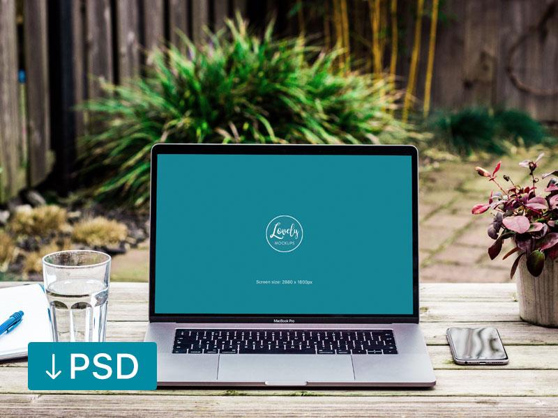 205a8f81003be34b937a56ce812ed2a9 - Workspace with Macbook Pro Mockup Template (Freebie)
