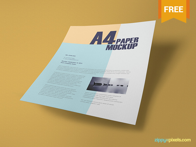 255e5a10410953f1fbc3da32f38fd373 - Free Textured A4 Paper Mockup PSD