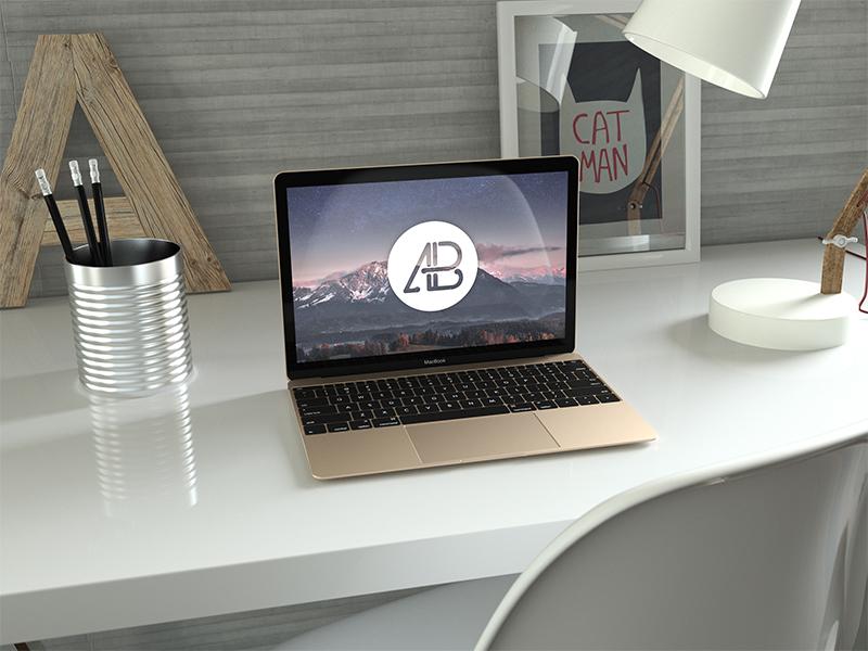 277b02d2a625e3c67af9226233ad3066 - Realistic Gold 12 Inch Macbook Mockup