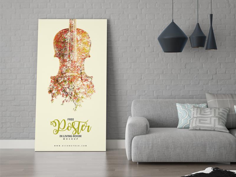 2bd7e05252248846589365901e4099c1 - Free Poster in Living Room Mockup