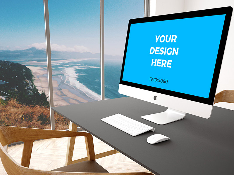 "2d32c16101ef430f594f6809971ddbde - Free mockup - 27"" iMac on black table in modern office"