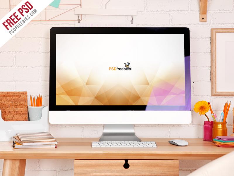 3187e0a0fee679b3079e57ac51f564b1 - Freebie : iMac Desktop Workspace Mockup Free PSD