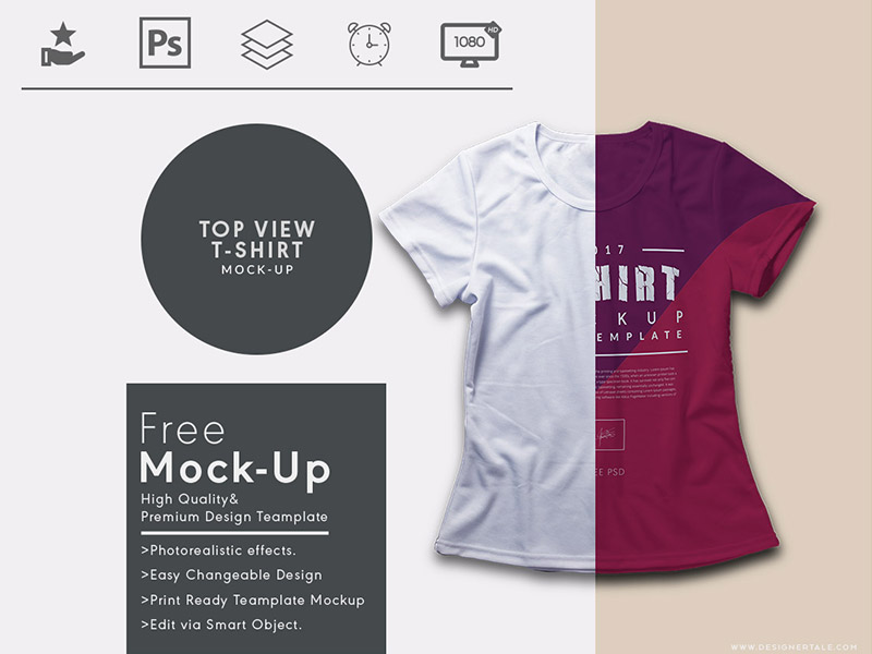 331a43a9b9560cc2f53abb9faff26398 - Top View Free T Shirt Mock Up Template