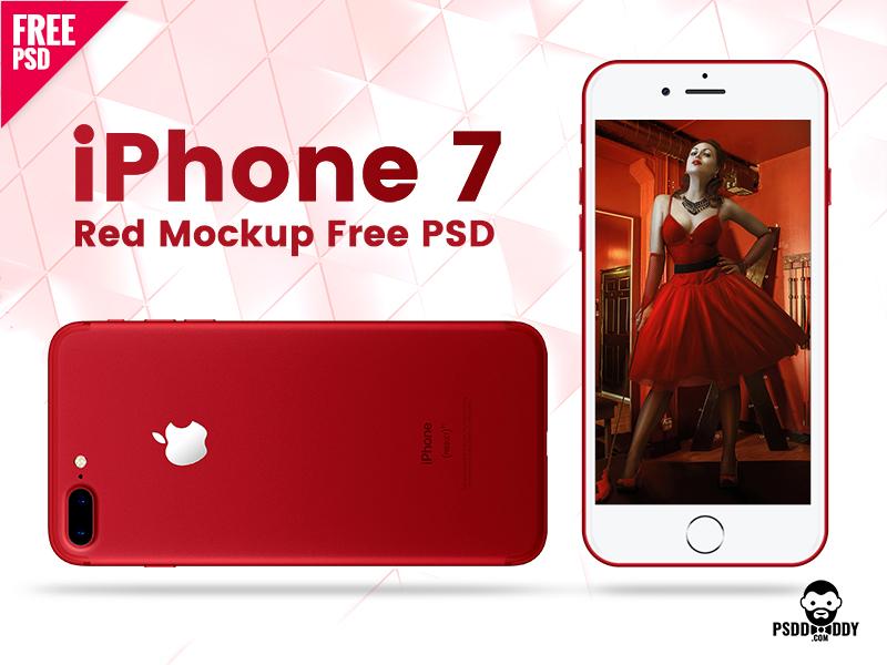 348bf8dbf7fa18c4b8b42154e3998d8b - iPhone 7 Red Mockup Free PSD