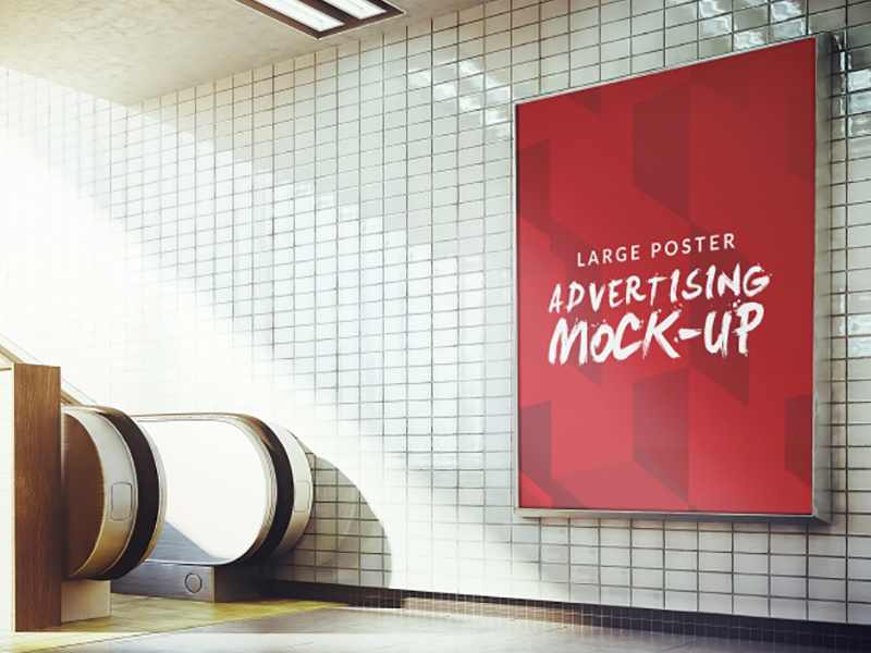 39094acac7cb7f3adfeb15e82dde7f14 - Underground poster mock up design Free Psd