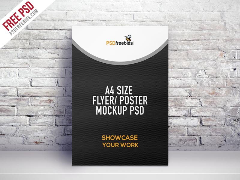 3c7dfacfd71e02e37b4ebdef31a59af1 - Freebie : A4 Size Flyer Poster Mockup PSD