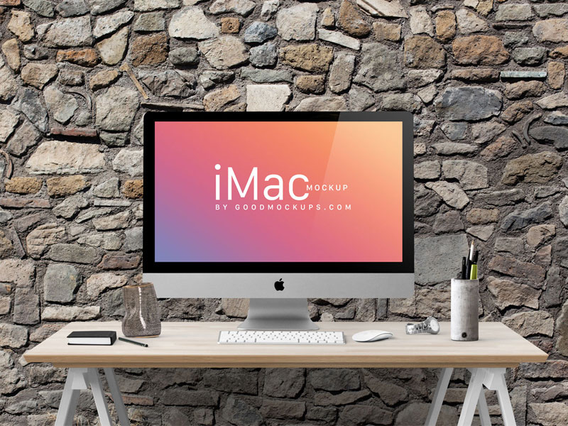 4914e8ebd498b5d0b21e19a080c799b8 - Free Apple iMac 27-Inches Photo Mockup PSD