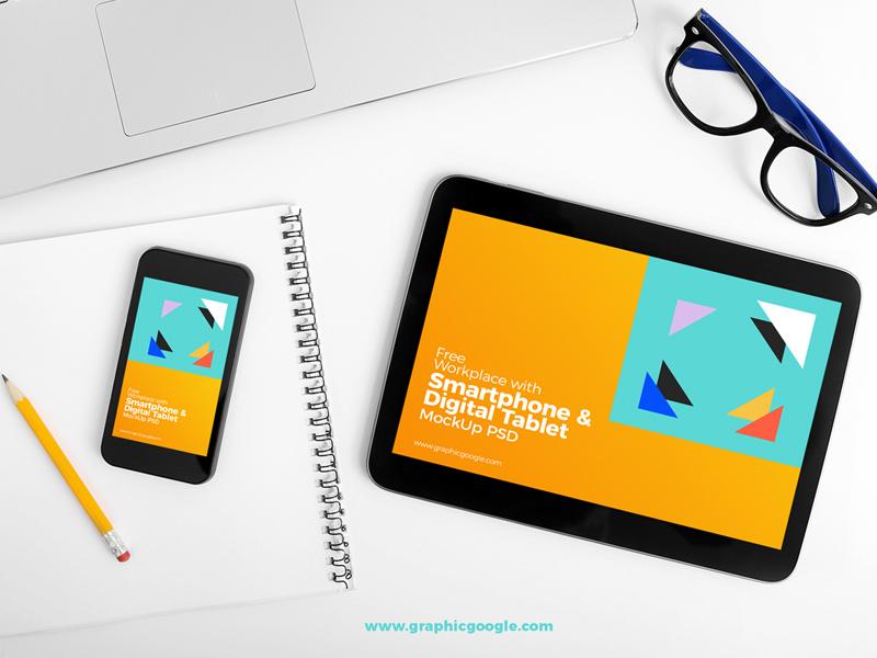 4d210ffd773f9b319b05eb7966abd89d - Free Workplace With Smartphone & Digital Tablet MockUp PSD