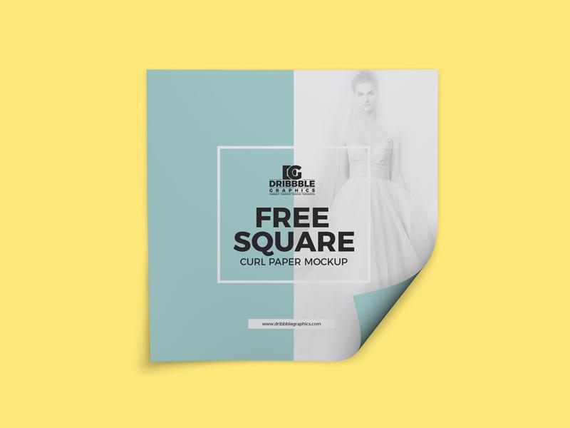 4efafbf99703c4068f8895d693ba45b5 - Free Square Curl Paper Mockup