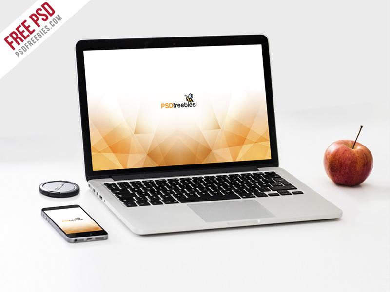 530907c317b855cf8f0af454480ef410 - Free PSD : Macbook Pro and Phone Mockup Template PSD
