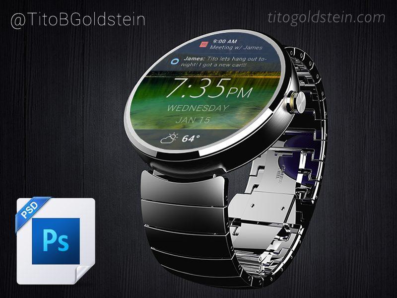 5606e5232c7a003ac32e19ab6c51818b - Android Wear - Wearable Mockup (Free PSD)