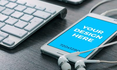 5ce3502bc950393defd3fd38fc5c1ad4 400x240 - White Samsung on the table (Free mockup)