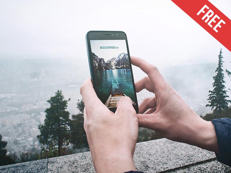 5d6e7ef469936414b61d9458aa23d90b - Smartphone in Hand – Free PSD Mockup