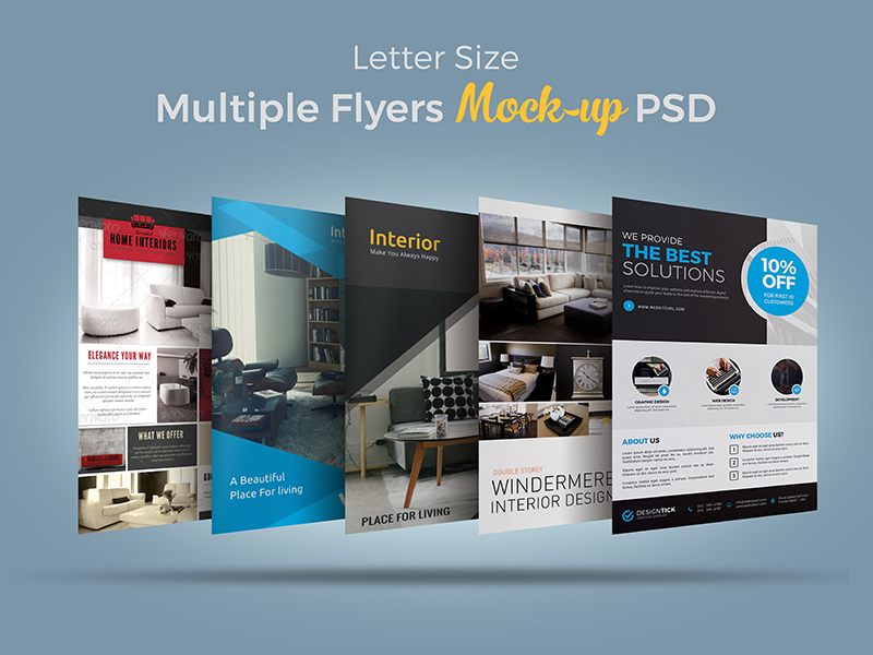 5eee08f1ec89ba174f2f0e82a95d9223 - Free Multiple Flyers Mock-up PSD