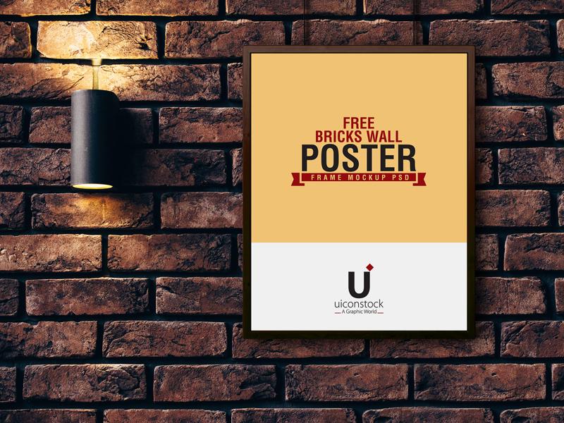 64ef370841f799fd793c4a00f775713b - Free Bricks Wall Poster Frame Mockup PSD