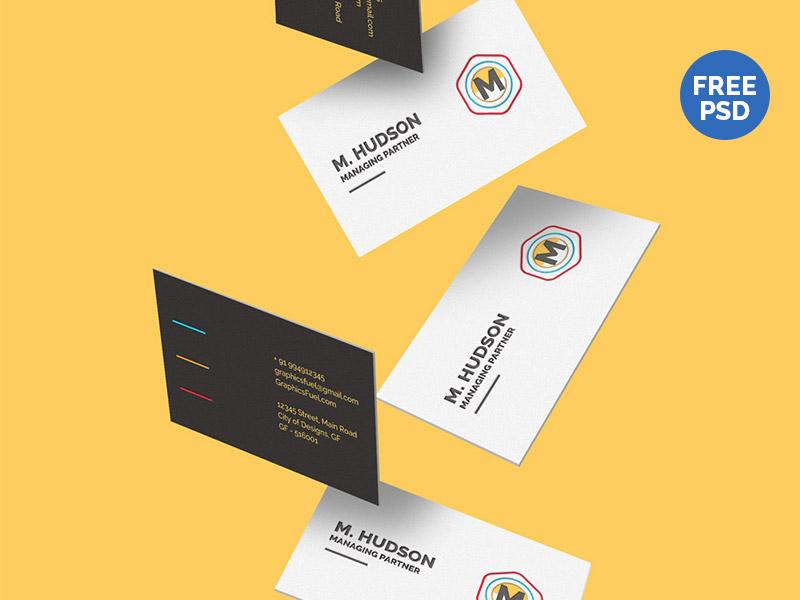 669614cde77f9ba11d6717b077033637 - Free Falling Business Cards Mockup