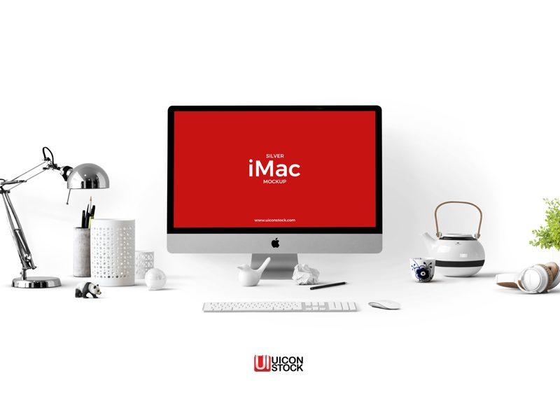 67a3f449032e4eb4665088ce0715d1f6 - Free Silver iMac Mockup PSD Template