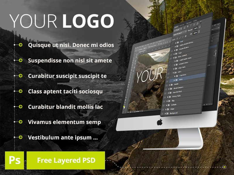 6acf70fd3f2c63535f47653bcace8162 - Free PSD iMac Layered MockUp Preview