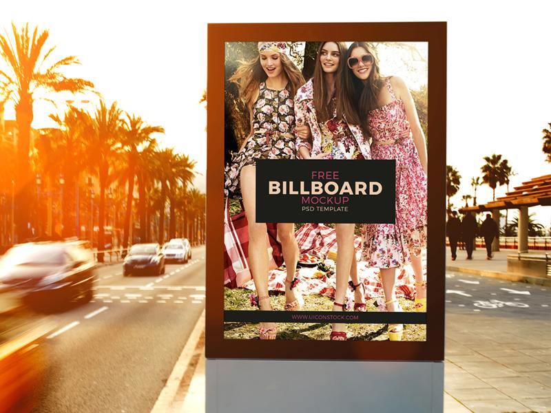 6cea713a32bcdfeff88d6c0760e63943 - Free Outdoor Roadside Billboard MockUp Psd Template