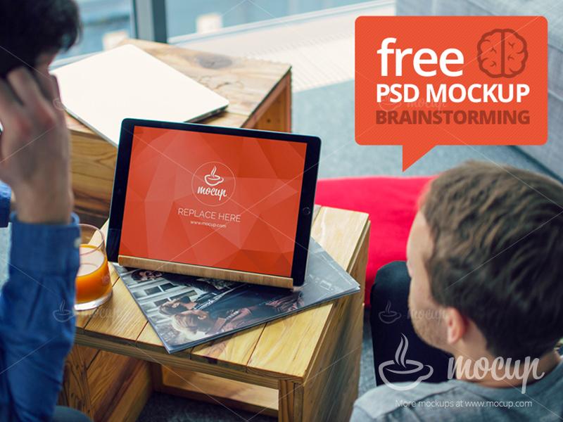 6e5a0482489599fa822aa5ff497aed22 - FREE Mockup iPad Pro Brainstorming