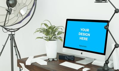 6ec03de004b0c8441f3fc65c2a74dc71 400x240 - Free mockup - iMac on the table in the office