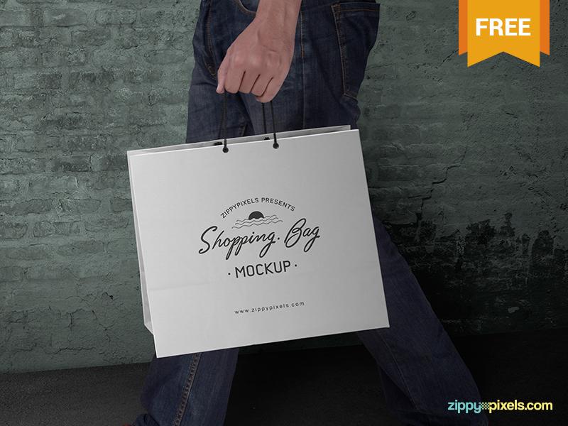 71281fabf527f32bfb8213d3f9149a14 - Free Shopping Bag Mockup PSD