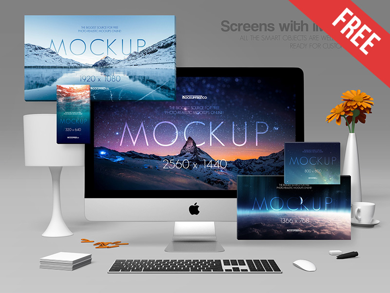 735e9721423a296df29fe22c27040b45 - Screens with iMac Pro – 2 Free PSD Mockups