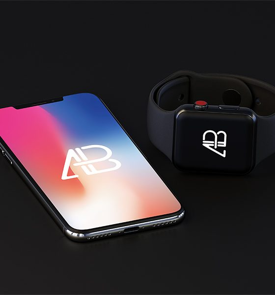7989cc8cfd0c0be3f05e816f6569c44b 560x600 - iPhone X And Apple Watch Series 3 Mockup