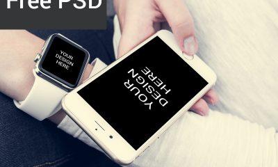 81020ffa414b6baec7a3063911711946 400x240 - Freebie : Iphone With Smartwatch Mockup