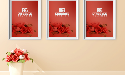 83d3d2bf8780cc82d01a04d75dc002da 400x240 - Free Poster Frame Mockup with Beautiful Flowers on Background