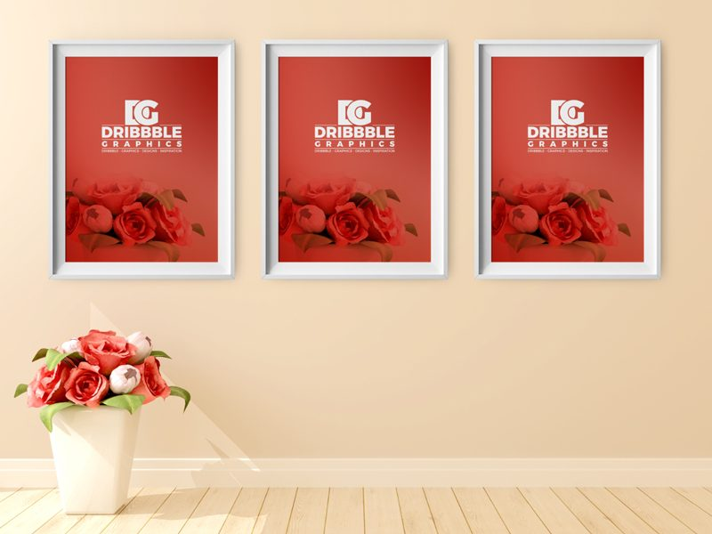 83d3d2bf8780cc82d01a04d75dc002da - Free Poster Frame Mockup with Beautiful Flowers on Background