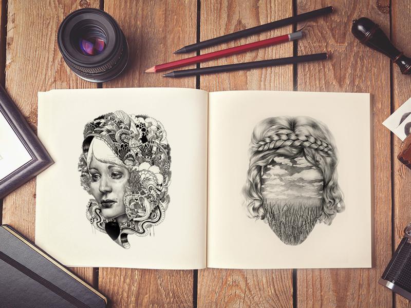 84b4cb1c7b2d78dadfc01a28243ea9f9 - Free Artist Sketch Book MockUp PSD