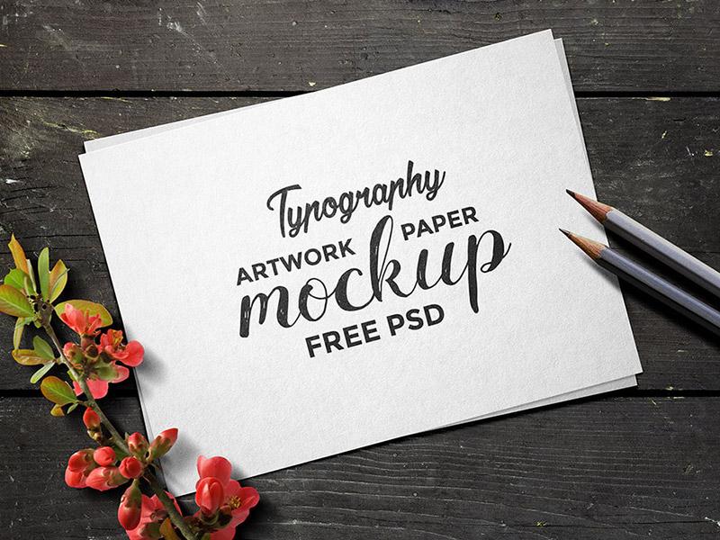 89206747433bad86542b1b42668ae729 - Typography Artwork Paper Mockup PSD