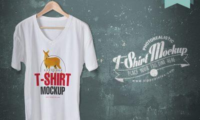 9139b702baee45cd86fbc3b8060f1c92 1 400x240 - Cool V-Neck Tshirt Mockup For Free