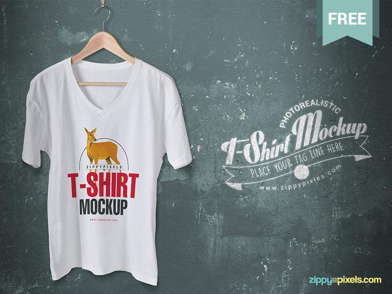 9139b702baee45cd86fbc3b8060f1c92 1 - Cool V-Neck Tshirt Mockup For Free