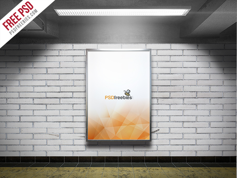 91b89356ccb2bab32b4163d7a2e3e510 - Freebie : Subway Advertising Billboard Mockup PSD