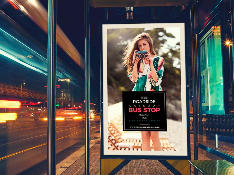 933325324fb1e421c31853324fd4b262 - Free Roadside Outdoor Bus Stop Billboard MockUp
