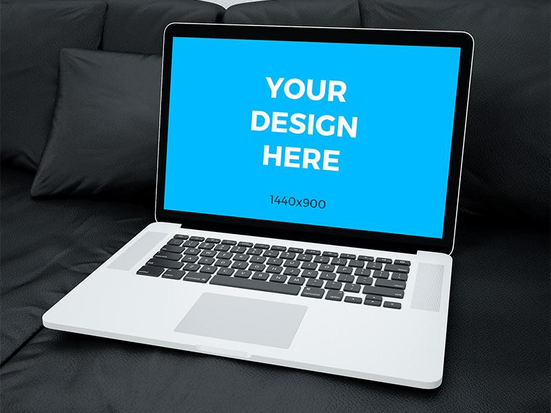 993db743f618547c052d7f1963a20e81 - Free mockup - MacBook Pro Retina laying on black sofa