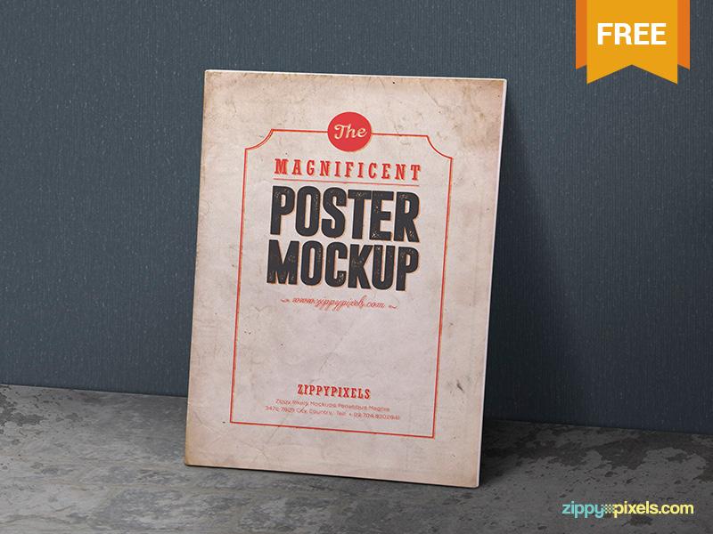 9eced34f46eb81b88a1d9f6087b0a840 - 2 Free Vintage Poster Mockup PSDs